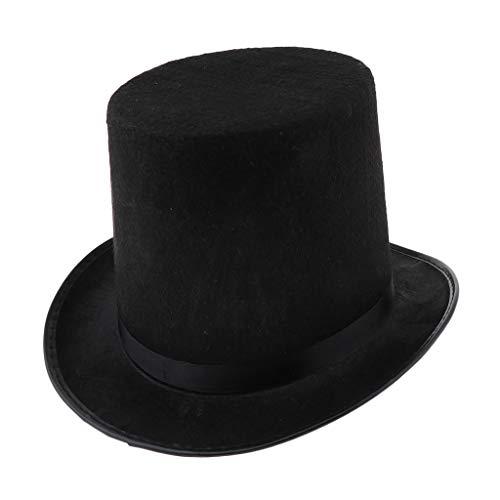 chiwanji Vintage Gentlemen Black Top Hat Kostüm Für Zauberer Aus Schwarzem Samt, Vintage Steampunk Derby - Black Top Hats Kostüm