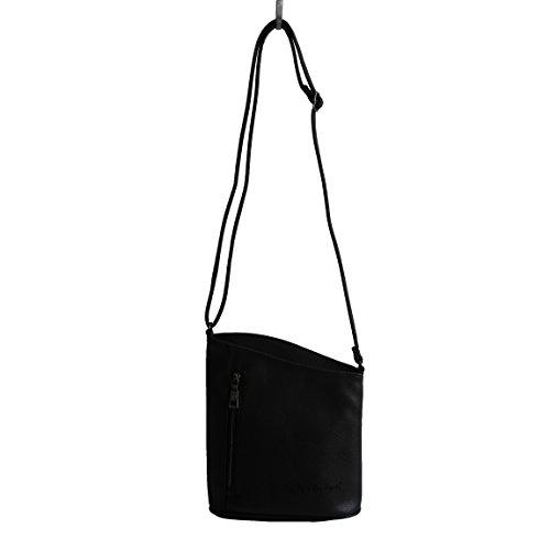 Jennifer Jones - kleine - schicke Damen Handtasche Clutch Umhängetasche Abendtasche Ausgehtasche Schultertasche - präsentiert von ZMOKA® in versch. Farben (Schwarz)