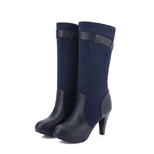 VogueZone009 Damen Blend-Materialien Mitte-Spitze Rein Ziehen auf Hoher Absatz Stiefel, Braun, 40