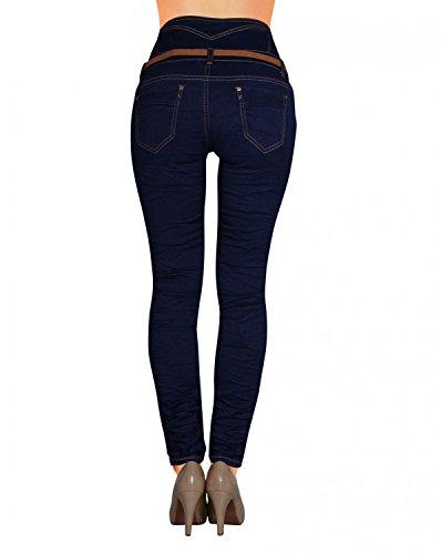 Damen Jeans Hose Skinny Corsage High Waist Röhrenjeans inkl. Gürtel (434)
