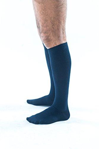 DER STÜTZKNIESTRUMPF ACTIVA FÜR MANN IM BAUMWOLLE - 100% MADE IN ITALY - MIT GRADUIERTER STARKER KOMPRESSION mm/Hg 18 - GELENKIGER STÜTZKNIESTRUMPF FÜR MANN (Blau, 39-41)