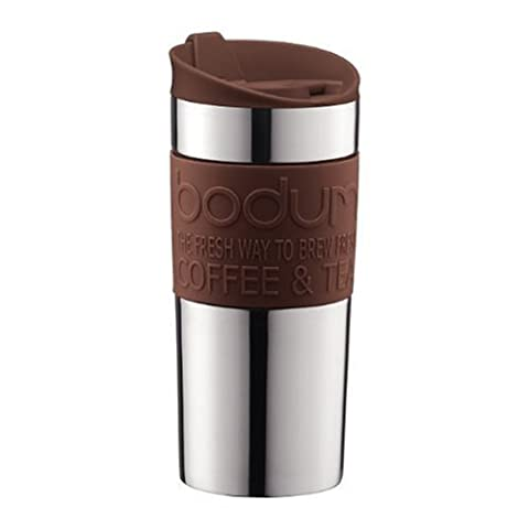 Bodum Vacuum Travel Mug, Stainless Steel with Brown Lid and Band, Small - 0.35 L/12 oz