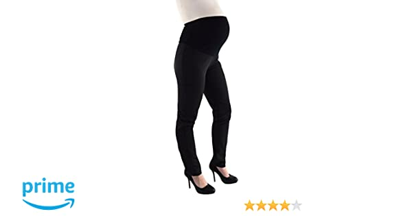 Elizabeth Brown Maternity Straight Leg Tailored Trousers Leg Formal Office Black Over Bump Long Tall 32