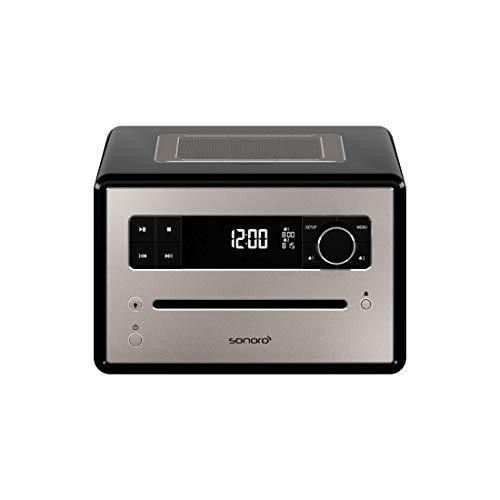 sonoro QUBO CD-Player (UKW/FM/DAB/DAB+, MP3, AUX-in, Bluetooth, Meditationsinhalte) Schwarz - Design Digitalradio, Radio-Wecker