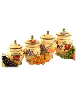 Tuscan Collection Deluxe Hand-Painted 4-Piece Kitchen Canister Set