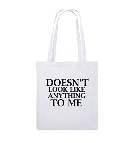 Comedy Bags - DOESN'T LOOK LIKE ANYTHING TO ME - Jutebeutel - lange Henkel - 38x42cm - Farbe: Schwarz / Pink Weiss / Schwarz