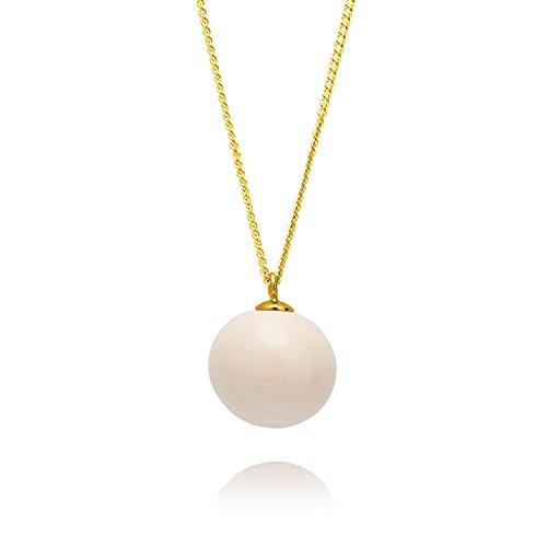Louise Kragh Damen Halskette Pearl Perle Kugel Anhänger rund Porzellan Kaschmir Cashmere Sterling Silber vergoldet - N-PE0102CASg