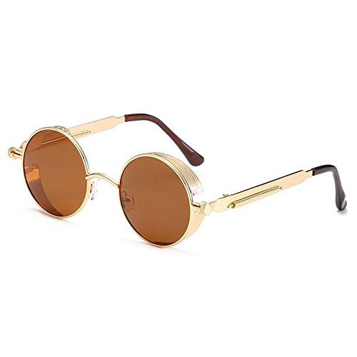 MEIHAOWEI Gothic Steampunk Männer Frauen Polarisierte Sonnenbrillen Beschichtung Gespiegelte Sonnenbrillen Runde Kreis C5