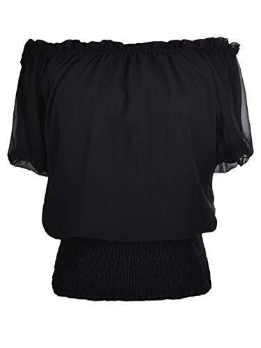 Anna-Kaci Rüschen Puffy Kurzarm Schulterfrei elastische Mittel Smocked Taille Peasant Boho Bluse Chiffon Shirt, Medium, Schwartz