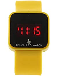Reloj de mujer - SODIAL(R)Colorido unisexo LED Digital pantalla tactil Reloj de pulsera de silicona Amarillo