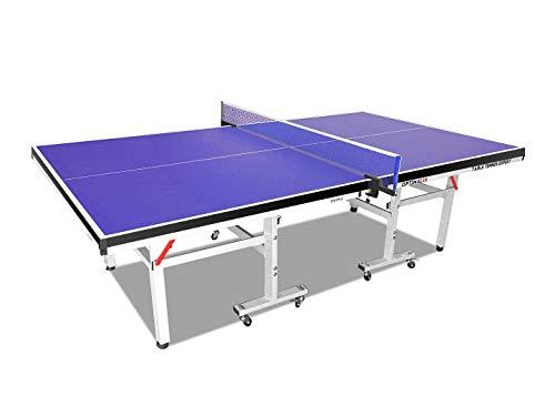 Global Sporting Equipments Tischtennis-Tisch für den Innenbereich, Ping-Pong-Tisch mit Netz-Set, Schläger und Bälle, Playback-Modus, faltbar, leicht zu bewegen, kompakt