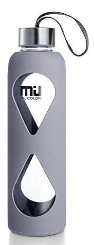 MIU COLOR® 550 ml botella de cristal ecológico, sin BPA portátil Sport botella, antigoteo de acero inoxidable tapón botella con funda de nailon (Gris)