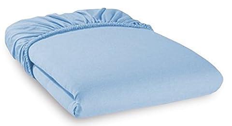 Aminata Kids - Feinjersey Spannbetttuch Spannbettlaken für Kinderbett 70x140 cm hellblau