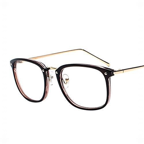 Duhongmei123 Mode Brillen Männer und Frauen Computer Brille Flache Spiegel Lässige Brillenfassungen Nicht Verschreibungspflichtige Klare Linsen. Occhiali (Farbe : Braun)