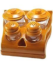Homeware Food Grade Salt/Pepper/Pickle Set with Stand Wooden Design_Plastic(Set of 4)