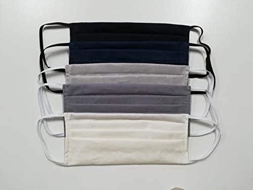 Maschere multiuso copri naso e bocca in 100% cotone lavabile, set 5 pezzi colori neutri