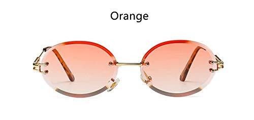 LAMAMAG Sonnenbrille Randlose Ovale Sonnenbrille Kleine Runde Frauen Männer Brille Damen Vintage Gelbe Eyewear 90Er Jahre Rote Brille, 4