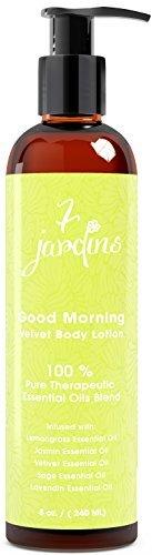 7Jardins Good morning Velvet lozione per il corpo–Daily lozione idratante per tutti i tipi di pelle arricchito con un citronella, gelsomino, vetiver, salvia e oli essenziali Lavendin–sicuro e privo di solfati