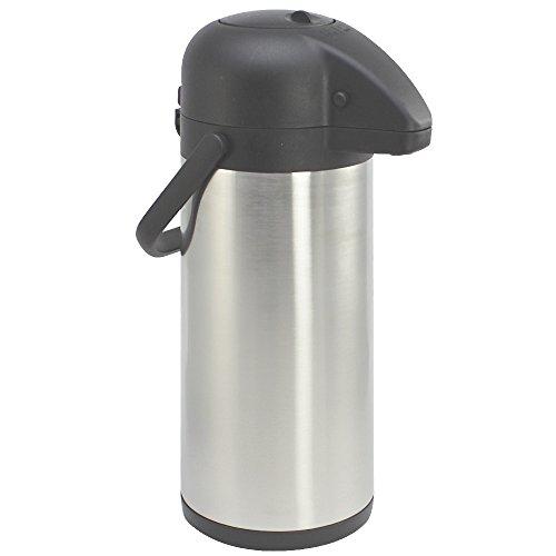 COM-FOUR 3L Isolier-Pumpkanne, 3 Liter Airpot aus Edelstahl, doppelwandige...
