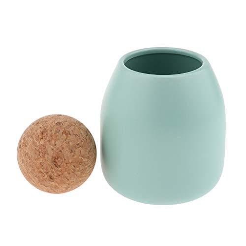LOVIVER Keramischer Küchen Kanister Kaffeeglas Speicher Nahrungsmittelbehälter Topf Mit Cork Top - Hellgrün-S (Ball Top) (Kanister Ball-küche)