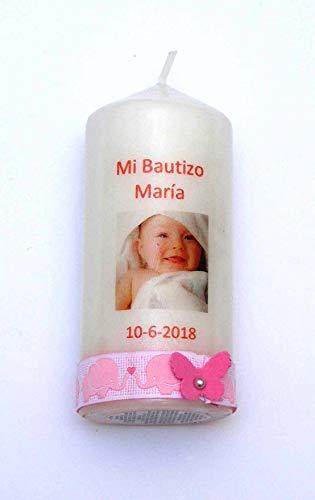 VELAS PINSART Vela decorada con la foto del bebé,cinta de elefantes y...