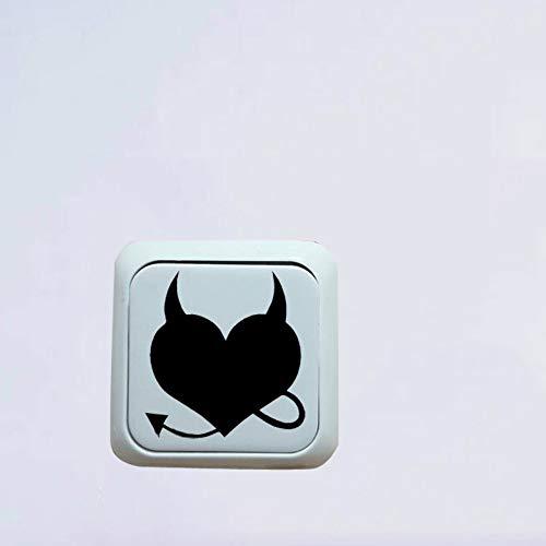 os Teufel-Herz Mit Schwanz Und Hörnern Vinyl Decor Wall Switch Aufkleber Aufkleber, Schwarz ()