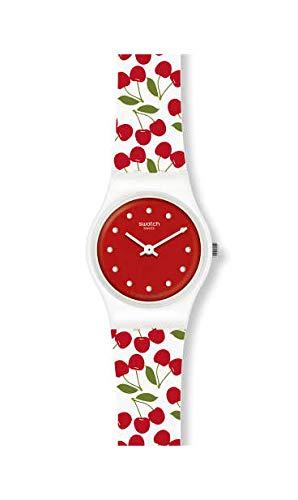 Swatch Damen Analog Quarz Uhr mit Silikon Armband LW167