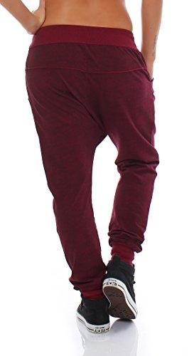 Moda Italy pantaloni della tuta larghi pantaloni ragazzo di donne d'avanguardia di pantaloni della tuta pantaloni sportivi di cotone Vestibilità ampia bordò
