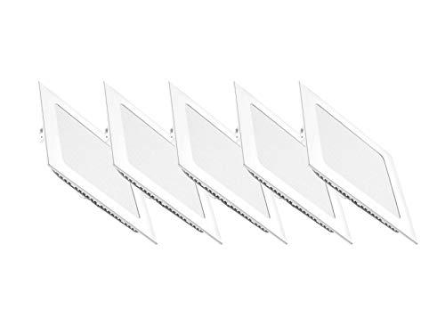 5 quadratische LED-Panels Pegaso, Einbaustrahler, Kaltweiß 6000 K mit Federlaschen zur Montage - Panel-Überspannungsschutz