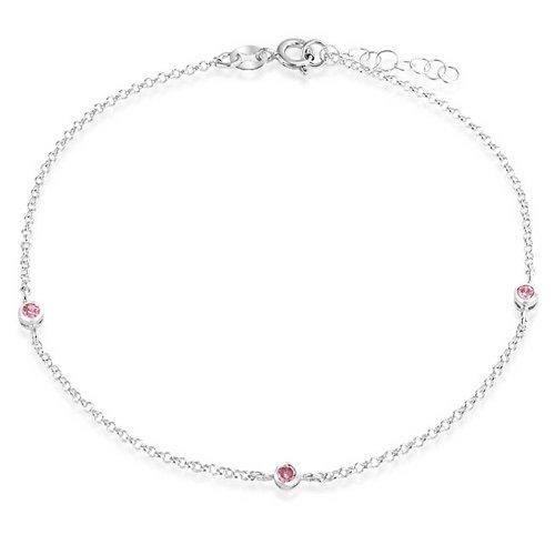 Bling Jewelry Pink Crystal Runde Kugel Perle Kette Fußkettchen Hotwire Armband Für Frauen 925 Sterling Silber Für 9-10-Zoll Extender