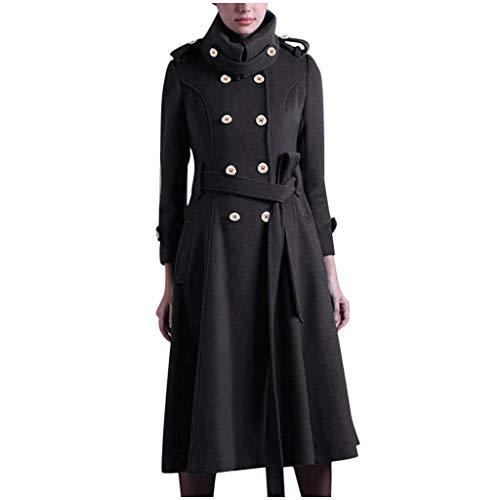 SMILEQ Womens Winter Revers Button Langer Trenchcoat Jacke Damen Mantel Outwear (Schwarz, XXL)