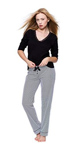 266b7397352e8a Sensis sensationeller Baumwoll-Pyjama Schlafanzug Hausanzug aus zartem  Oberteil und Langer gemusterter Hose, Made in EU (XL (42), Schwarz/Weiß)
