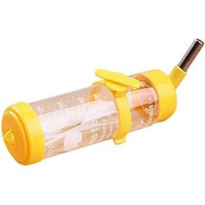 Toruiwa Hamster Wasserflaschen Trinkflaschen Kleintiere Wasserdispenser mit Edelstahlkugel hängbar für Hamster Kaninchen kleine Haustiere gelb 125 ml