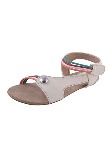 Adorn White Women's Casual Flats Sandal