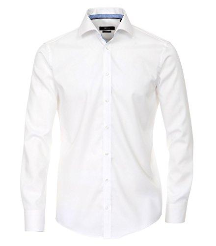 MichaelaX-Fashion-Trade - Chemise business - Uni - Col Chemise Classique - Manches Longues - Homme Blanc - Weiß (000)