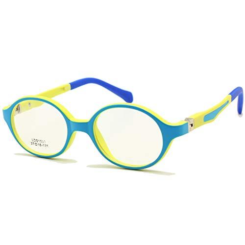 Baby Kleinkind Brillengestell TR90 Größe 37mm Safe Biegsamen Flexible Optische Kinder Kinder Brillen Klare Linsen Federscharnier (Blau Gelb)