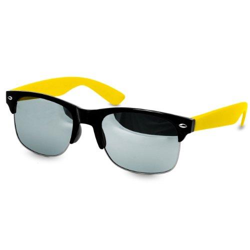 CASPAR Lunettes de soleil Clubmaster pour femme - plusieurs coloris - SG014 jaune / argenté miroir