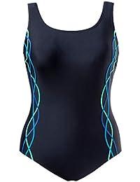 5fbca603fdc7be Ulla Popken Große Größen Damen große Größen bis 60 | Badeanzug |  Schwimmanzug mit Sonnenschutz