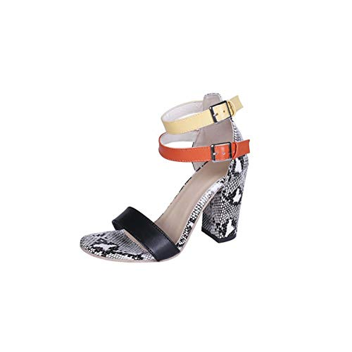 Women Sandals Summer Shoes Woman 2019 Fashion Snake Sexy High Heels Ankle Strap Square Heel Sandals Ladies Pumps Women Shoes Gray 5