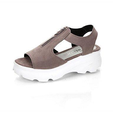 Enochx Women's Sandals Summer Mary Jane Fleece Outdoor Dress Casual Wedge Heel Buckle Walking , gray , us6 / eu36 / uk4 / cn36