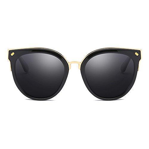 Cyxus Katzenauge Metall Rand Rahmen Damen Frau Mode Sonnebrille Gespiegelte Linse Women Sunglasses 1946 (Schwarzer Rahmen/Graue Linse)