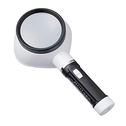 KCaNaMgAl LED-Handlupe, mit 2,5-Fach Leichter Lupe für ältere Personen zum Lesen, Schweißen, Prüfen, Münzen, Schmuck, Erforschung