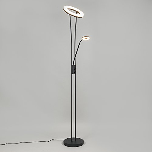 QAZQA Modern Stehleuchte / Stehlampe / Standleuchte / Lampe / Leuchte Divine schwarz Dimmer / Dimmbar / Innenbeleuchtung / Wohnzimmer / Schlafzimmer / Deckenfluter Metall Rund / Länglich / inklusive L - 3