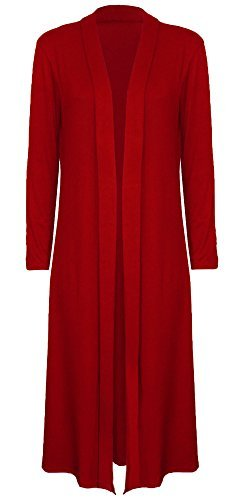 Re Tech UK Damen Maxi Lang Länge Boyfriend Strickjacke Kragen Top lang langärmelig fließendes Duster Jacke Mantel Blazer - Rot, 44