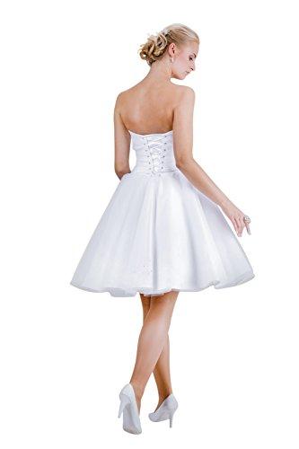 MGT-Shop Damen Brautkleid Brautkleider Hochzeitskleid Hochzeitskleider Hochzeitsmode Abendkleid Bridesmade Mini kurz (46, weiß) - 2
