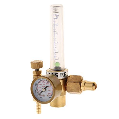 Backbayia Argon-Druckregler mit Messgerät, Durchflussmesser, Ventil für Argon, gelb -