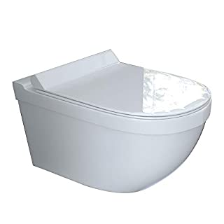 Wall-Mount toilet, flush, rimless, white ceramic, hanging toilet Including Duroplast toilet seat with soft-close function suitable for Geberit