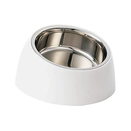 FFLSDR Haustierfutterschüssel aus Edelstahl mit doppeltem Verwendungszweck Katze und Hund Reisschale Wasserschüssel Doppelschüssel Hundefutterschüssel Katzenfutterschüssel (weiß) -