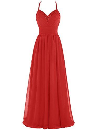 Bbonlinedress Robe de cérémonie et de demoiselle d'honneur plissée emperlée bretelles spaghetti longueur ras du sol en mousseline Rouge