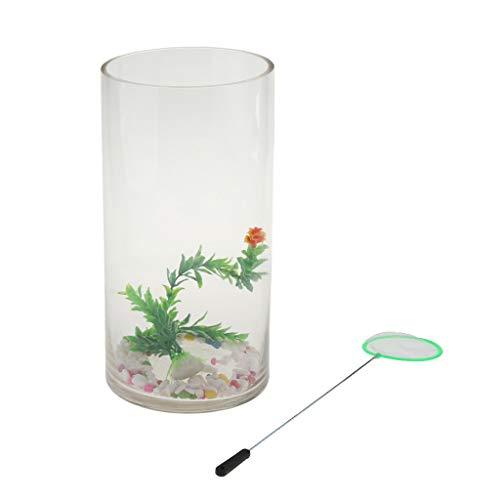 Non-brand sharplace serbatoio di vetro cilindrico piccolo sistema ecologico serbatoio di pesci d'acquario - 2